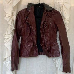 Burgundy free people leather jacket